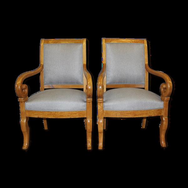 Paire de fauteuils Louis Philippe à crosses XIXe