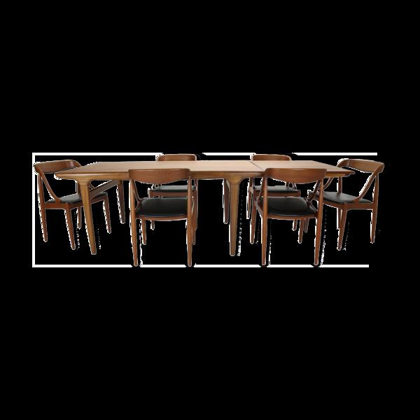 Selency Table et chaises Johannes Andersen pour Uldum Møbelfabrik années 1960 Danemark