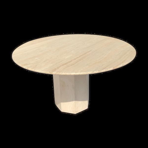 Table ronde travertin vintage