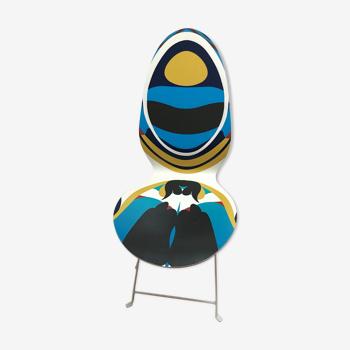 Chaise vintage haute couture Christian Lacroix coquen bois  et pietement metal