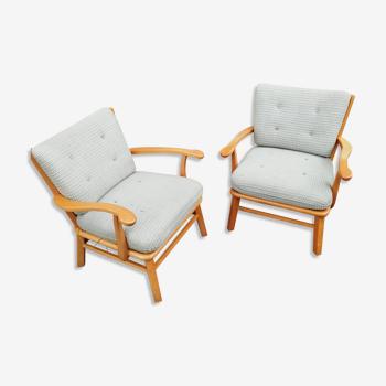 Paire de fauteuils vintage tissu vert pastel