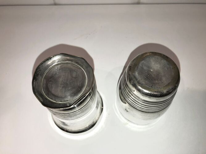 Paire de timbales Art Déco en métal argenté