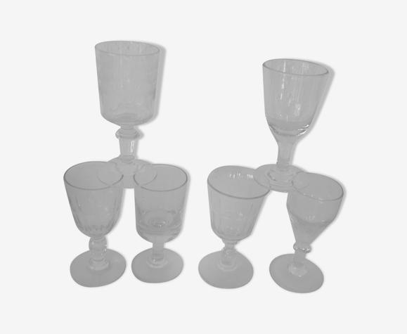 Set de 6 verres anciens tous différents bistrot alcool début 20ème  pv