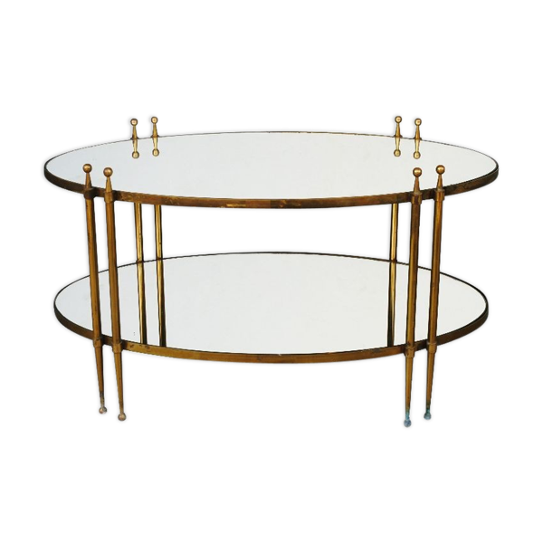 Selency Table à thé style 1940 bronze et miroir