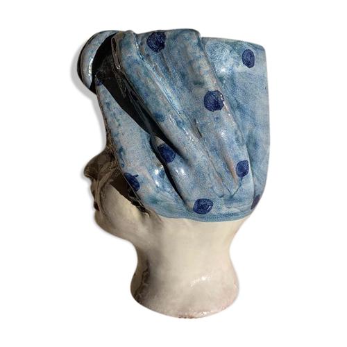 Vase tête mini bleu à pois femme
