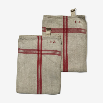 Pair new linen towels embroidered BR triple red stripe