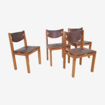 Set de 4 chaises vintage années 70 80 design minimaliste cuir