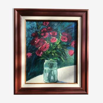 Tableau bouquet prune peinture sur bois encadrée
