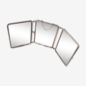 Miroir triptyque ancien 21, 4 X 15, 3 cm