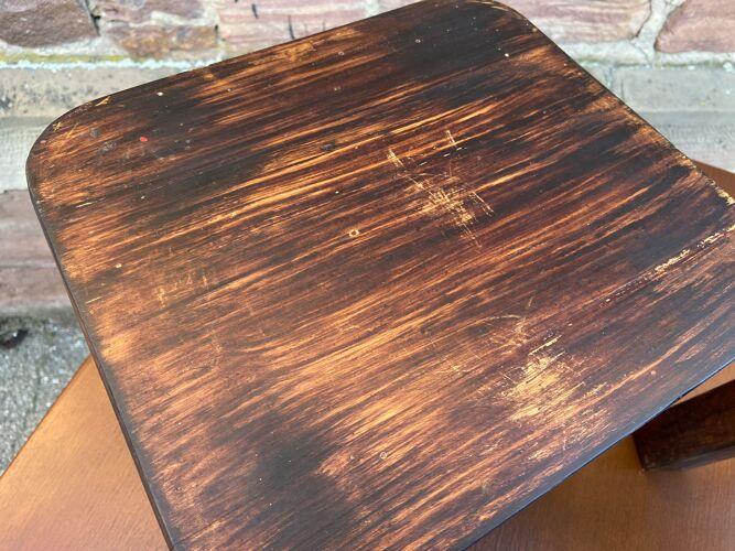 Paire de tabourets de ferme en bois vintage