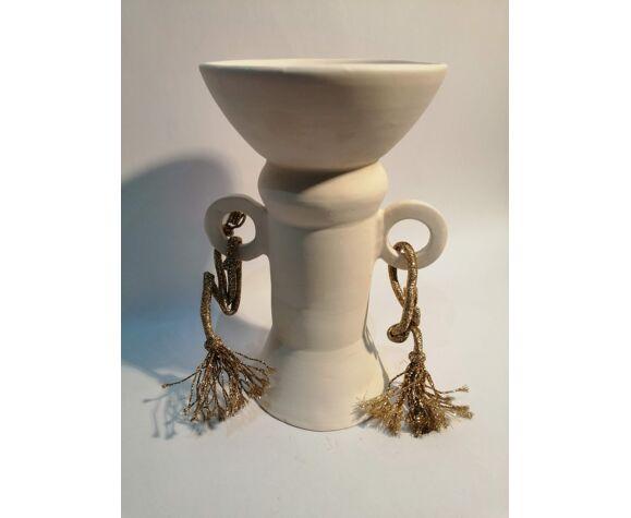 Vase fait main en argile  blanche