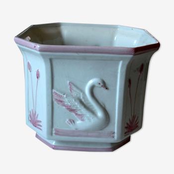 Cache pot en céramique octogonale vintage des années 1960