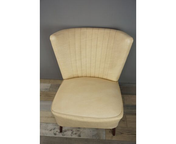 1950s wooden and faux leather cocktail chair