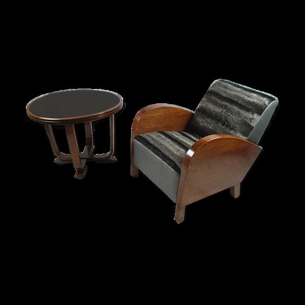 Fauteuil & table basse mid-century sur mesure