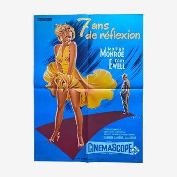 """Affiche cinéma """"Sept ans de réflexion"""" Marilyn Monroe 60x80cm 1970"""