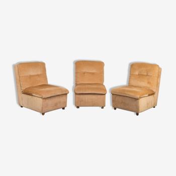 Ensemble de 3 fauteuils modulaire velours brun clair des années 70 vintage