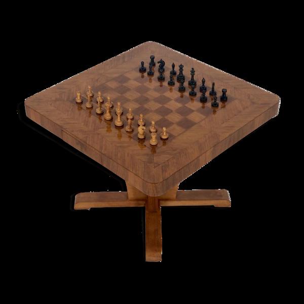 Table de jeu en marqueterie de paille