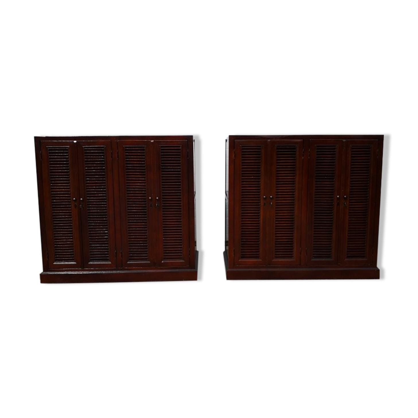 Paire de cabinets anglais dressing chêne 1970 vintage