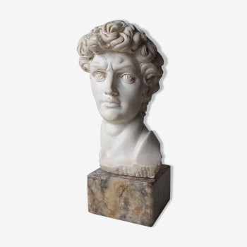 David's head in plaster on signed marble base - Perfect condition