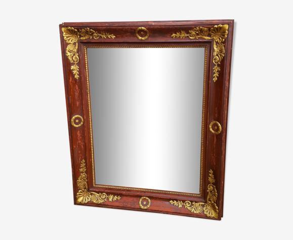 Miroir empire rouge sang et doré