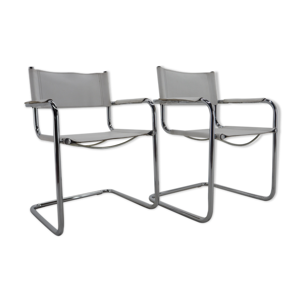 Paire de fauteuils en cuir et chrome du milieu du siècle, années 1970