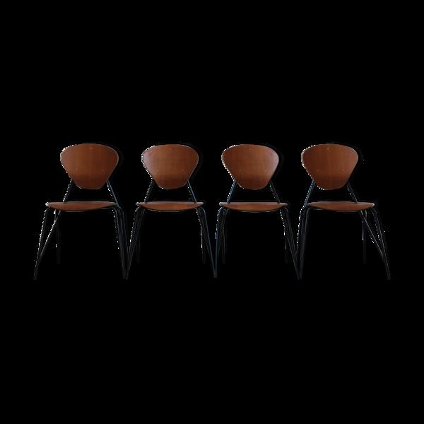 Chaises en teck italien produites par ISA, années 1960