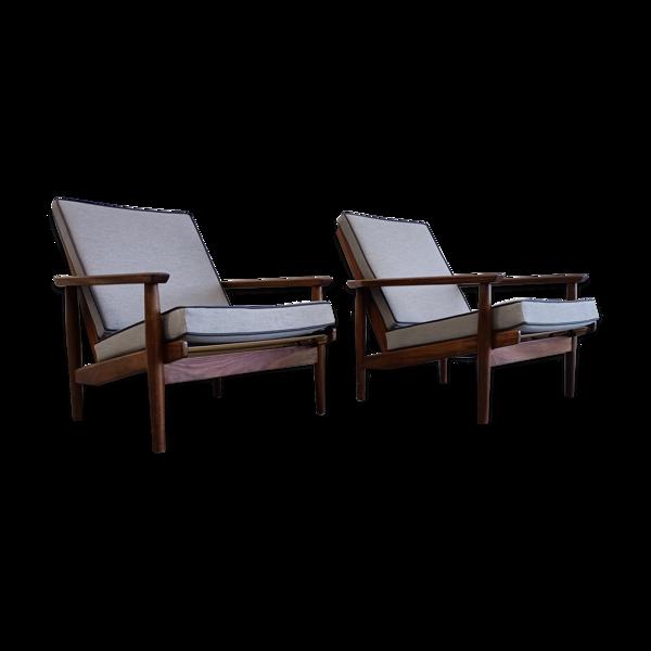 Paire de fauteuils en teck des années 1960, design hollandais