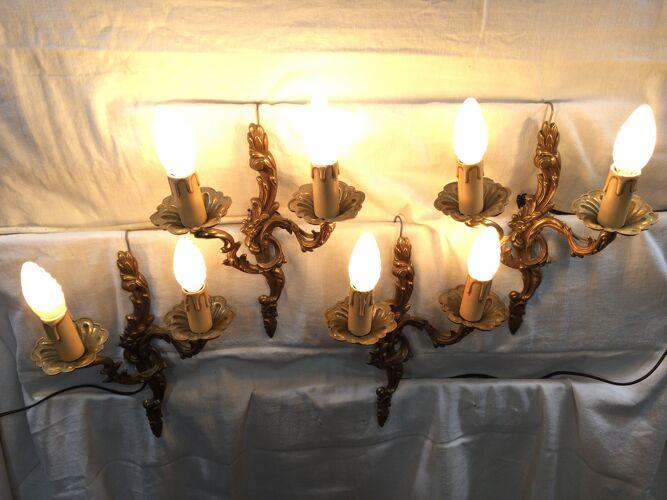 Ensemble de 4 appliques en bronze style louis XV