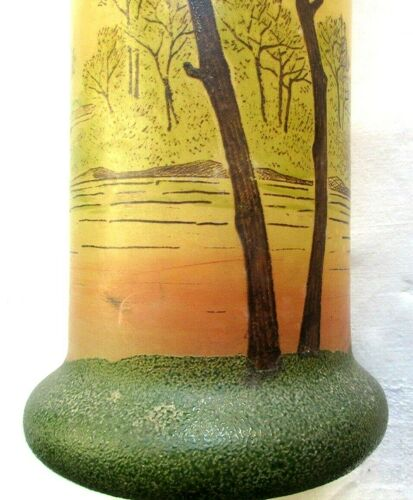 Vase Art Nouveau, verre émaillé Legras: Paysage aux grands arbres