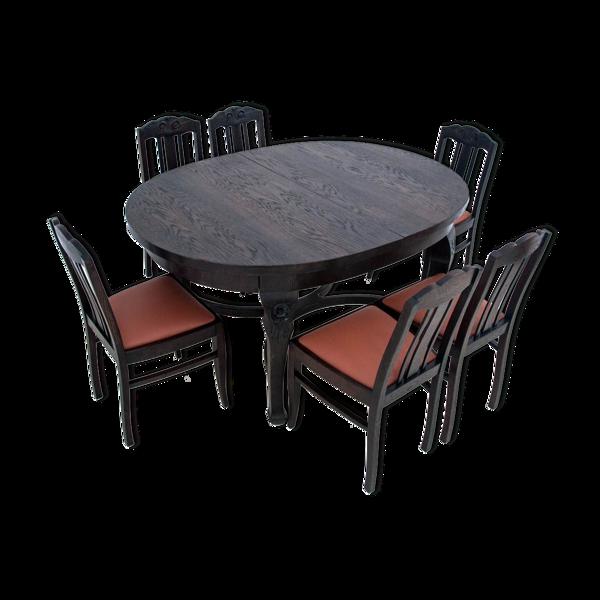 Table & 6 chaises, Art Nouveau, Pologne, vers 1930