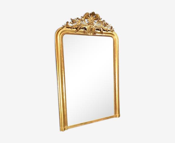 Miroir ancien 163x101 doré a la feuille