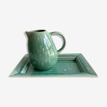 Plat rectangle et pichet Jars Tourron jade