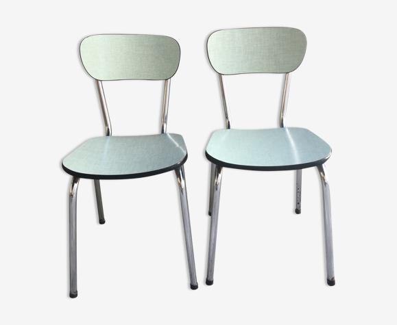 Paire de chaises en formica bleu ciel