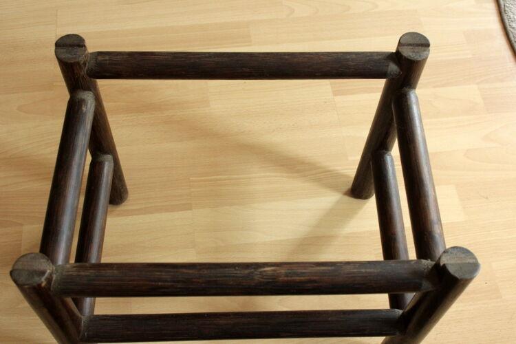Table d'appoint en bambou avec plaque de verre fumé - stand végétal - millésime des années 1970