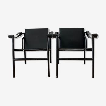 Paire de chaises Lc1, édition noir vintage par le Corbusier pour Cassina