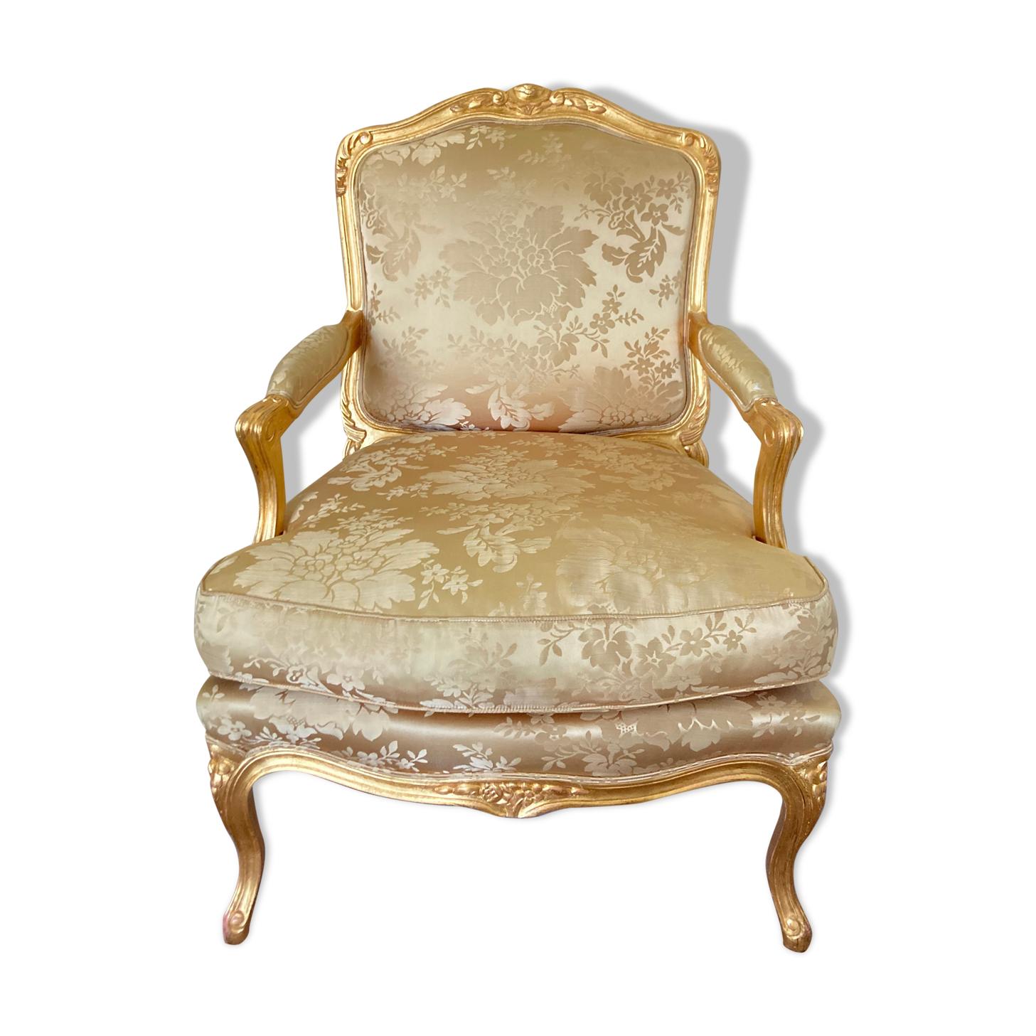 Fauteuil style Louis XV Gilles Nouailhac rose pale/doré à la feuille de cuivre