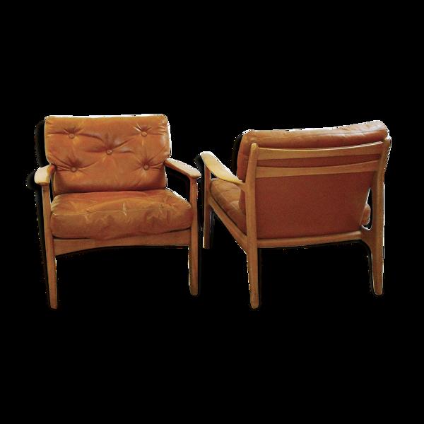 Selency Paire de fauteuils en cuir et bois