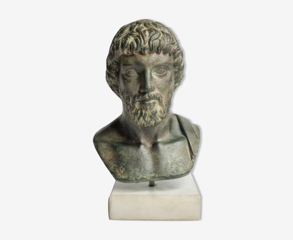 Buste d'Esculape en plâtre patiné sur socle en marbre, 21 cm