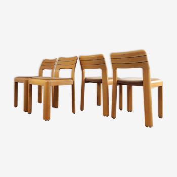 Ensemble de 4 chaises à manger en hêtre élégant, années 1970.