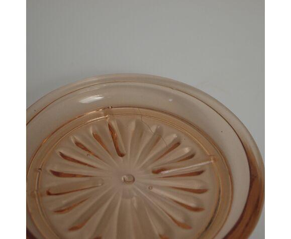 Cendrier ou vide-poche en verre rose