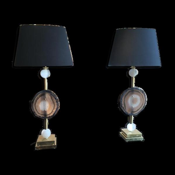 Paire de lampes «Fossile», XXe siècle