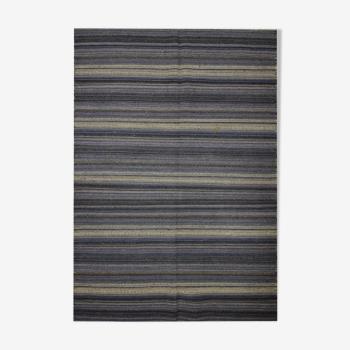 Tapis kilim en laine bleue fait à la main tapis tissé plat moderne - 122x183cm