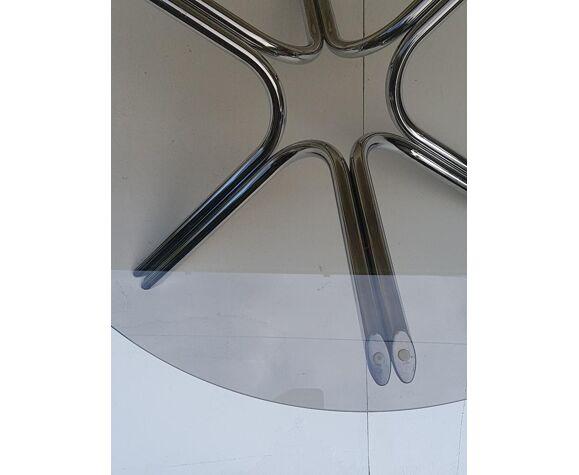 Table basse design chromée et verre fumé années 70