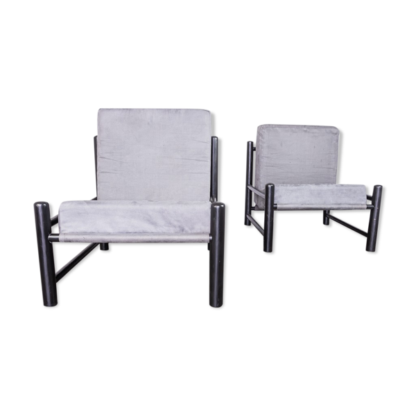 Paire de fauteuils en bois noir velours des années 70