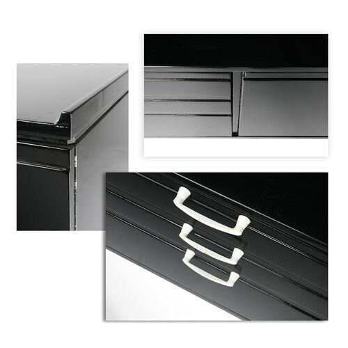 Enfilade noire laquée à 6 tiroirs et 2 placards vers 1970