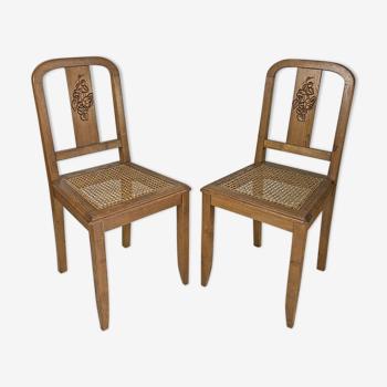Paire de chaises cannées vintage 1950