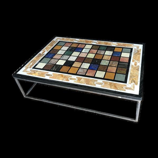 Selency Table basse tablette en marqueterie de marbre et base en métal