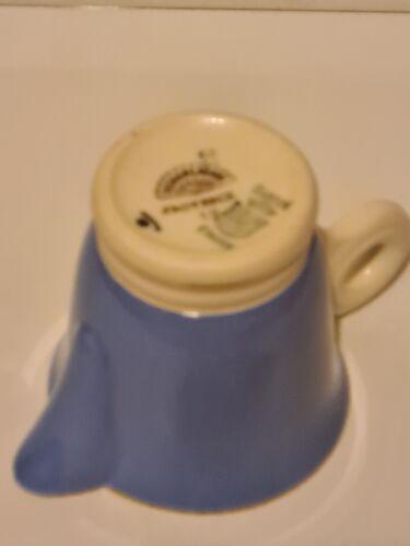 Pot à lait faïence de Digoin Sarreguemines bleu décor floral