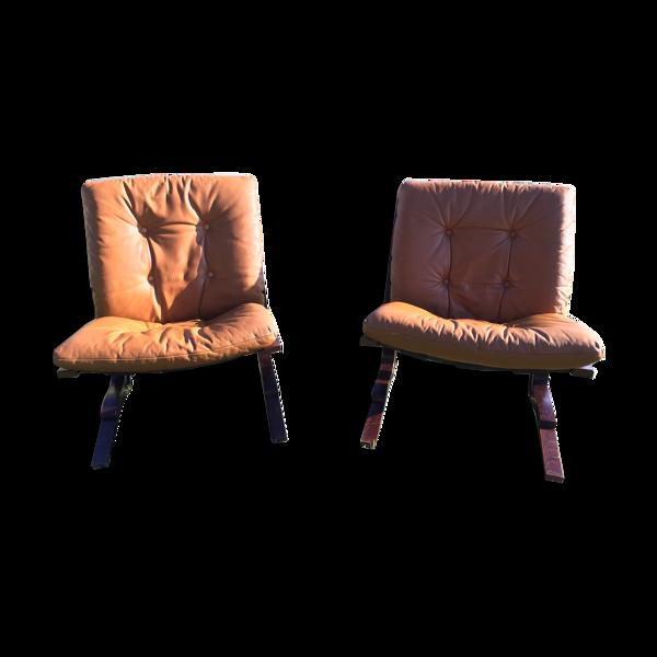 Selency Paire de fauteuils design Elsa et Nordhal Solheim , édité par Rykken Mobelfabrik