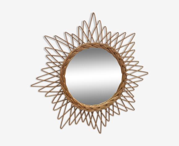 Miroir soleil en rotin 58x58cm